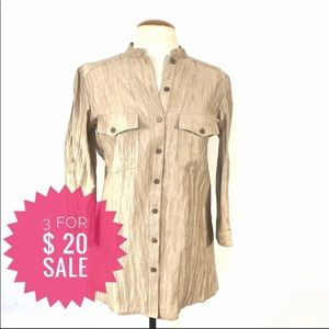 Portfolio golden wrinkle effect shirt Sz 4